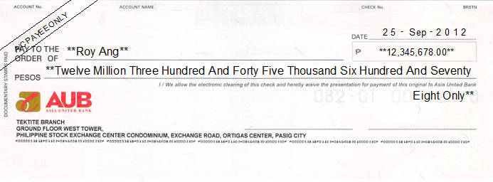 Printed Cheque of Asia United Bank Philippines