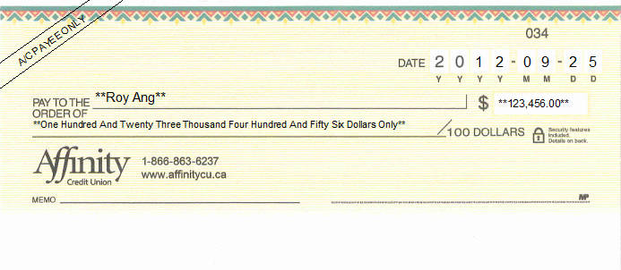 Printed Cheque of Affinity Credit Union in Canada