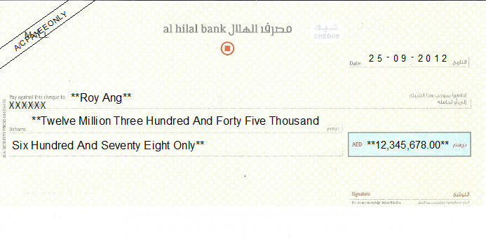 Printed Cheque of Al Hilal Bank in UAE