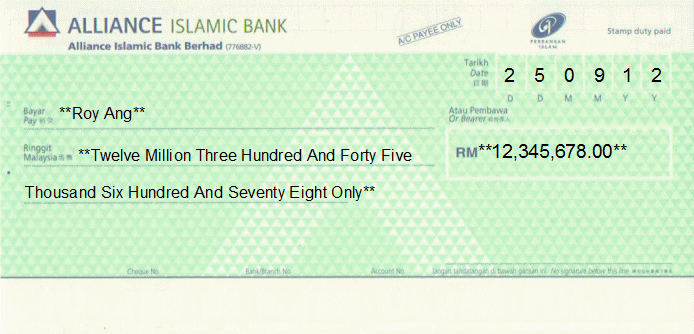 Printed Cheque of Alliance Islamic Bank in Malaysia