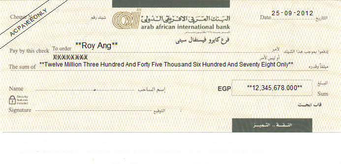 Printed Cheque of Arab African International Bank in Egypt
