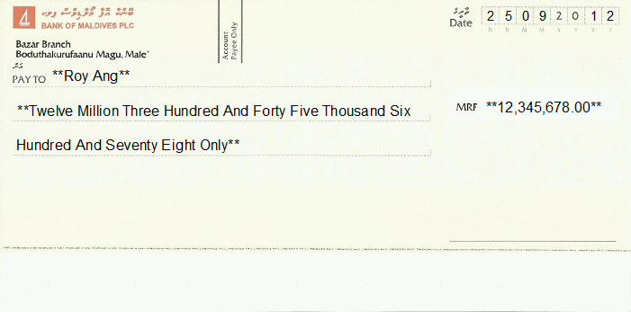Printed Cheque of Bank of Maldives