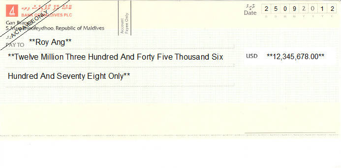 Printed Cheque of Bank of Maldives (US Dollar)