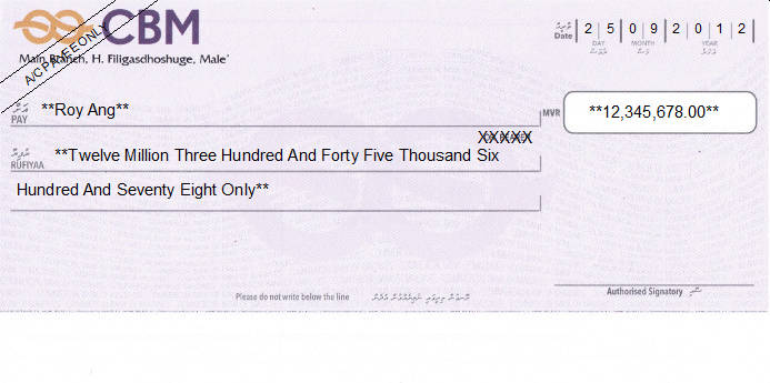 Printed Cheque of CBM - Commercial Bank of Maldives in Maldives