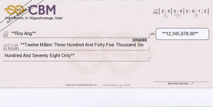 Printed Cheque of CBM - Commercial Bank of Maldives (US Dollar) in Maldives