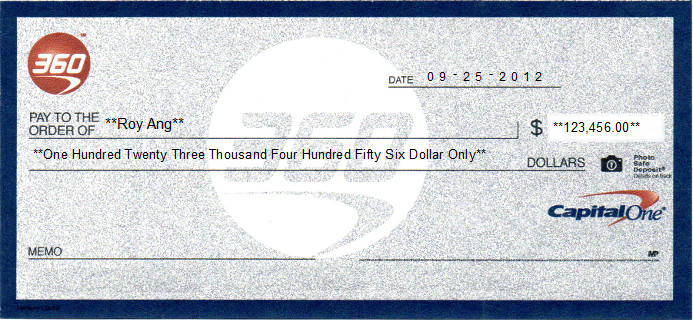 Printed Check of Capital One 360 Online Checking in United States