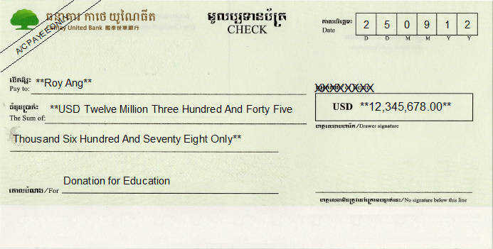 Printed Cheque of Cathay United Bank in Cambodia