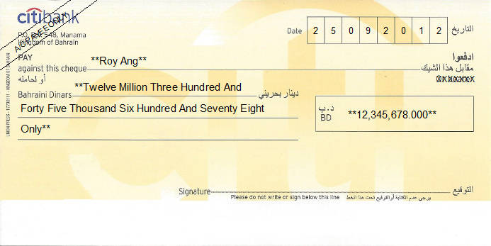 Printed Cheque of Citibank in Bahrain