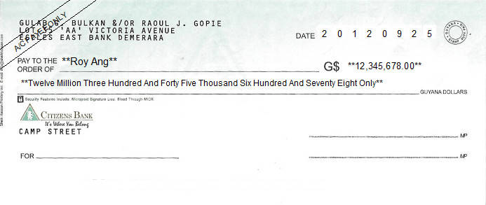 Printed Cheque of Citizens Bank in Guyana