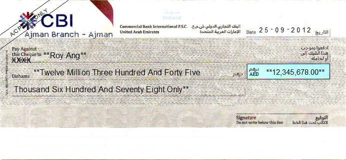 Printed Cheque of Commercial Bank International (Personal) in UAE