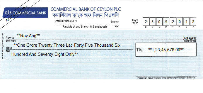 Printed Cheque of Commercial Bank of Ceylon in Bangladesh