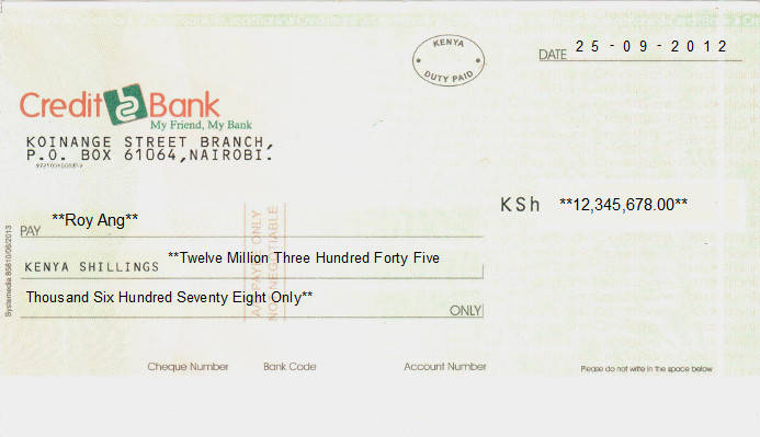 Printed Cheque of Credit Bank in Kenya