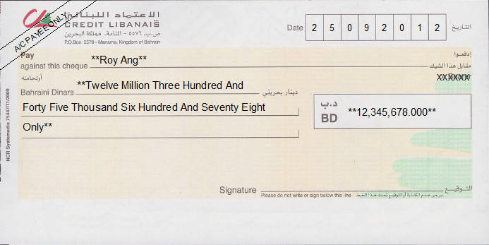 Printed Cheque of Credit Libanais in Bahrain