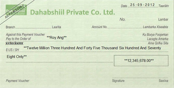 Printed Cheque of Dahabshiil Private Finance in Somalia
