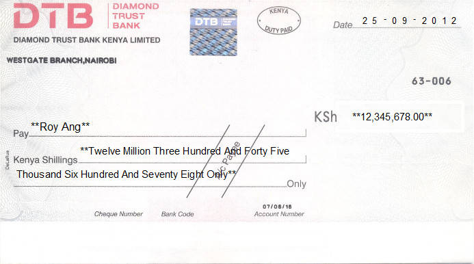 Printed Cheque of Diamond Trust Bank - DTB in Kenya