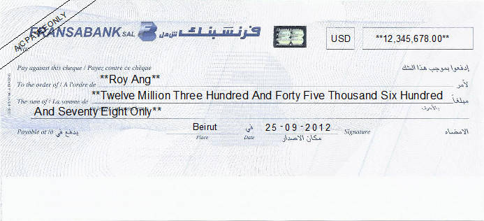 Printed Cheque of Fransabank in Lebanon