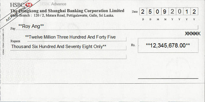 Printed Cheque of HSBC Bank (Advance) in Sri Lanka