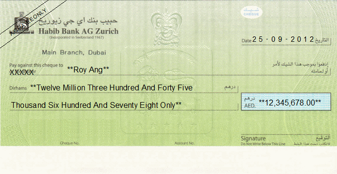 Printed Cheque of Habib Bank AG Zurich UAE