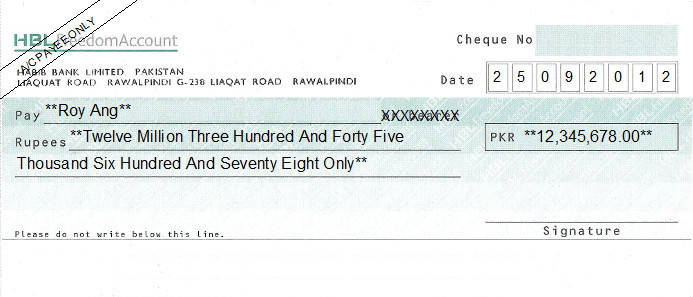 Printed Cheque of Habib Bank (HBL) Freedom Account Pakistan