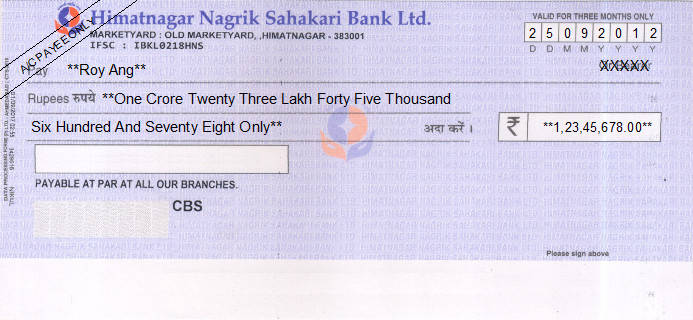 Printed Cheque of Himatnagar Nagrik Sahakari Bank in India