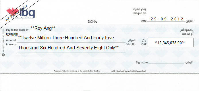 Printed Cheque of Internation Bank of Qatar (IBQ)