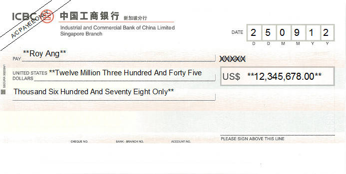 Printed Cheque of ICBC Bank (USD) in Singapore