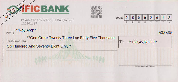 Printed Cheque of IFIC Bank in Bangladesh