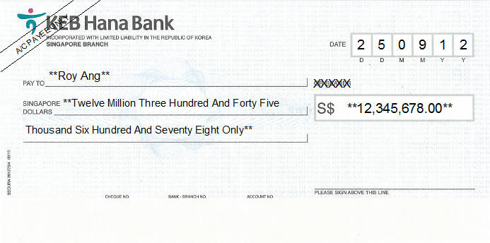 Printed Cheque of KEB Hana Bank in Singapore