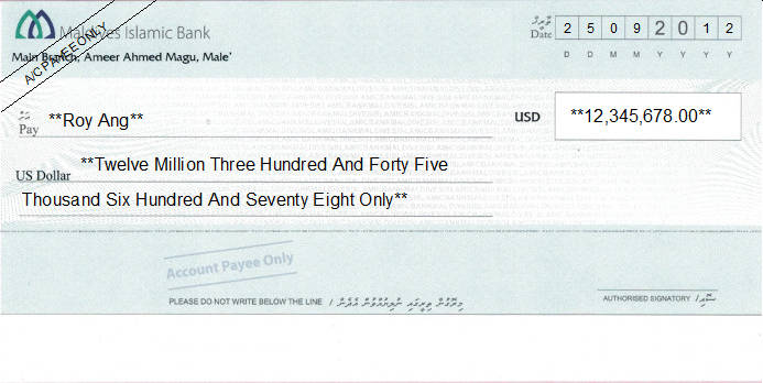 Printed Cheque of Maldives Islamic Bank (US Dollar) in Maldives