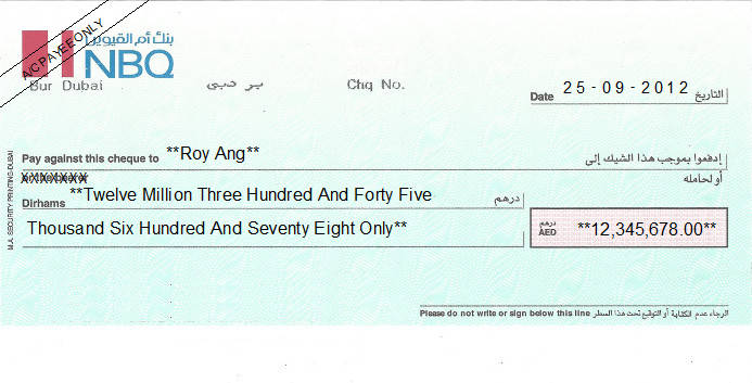 Printed Cheque of National Bank of Umm Al Qaiwain (NBQ) in UAE