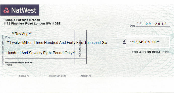 Printed Cheque of NatWest - Business (National Westminster Bank) in United Kingdom