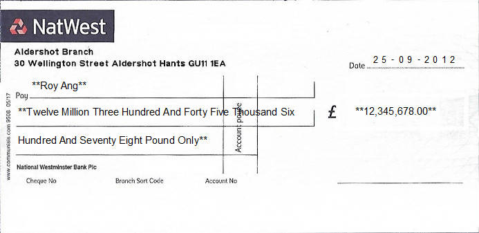 Printed Cheque of NatWest (National Westminster Bank) in United Kingdom