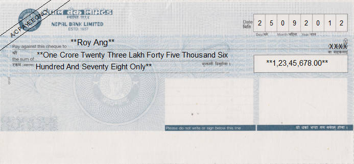 Printed Cheque of Nepal Bank in Nepal