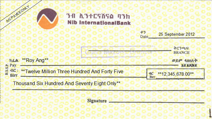 Printed Cheque of Nib International Bank in Ethiopia