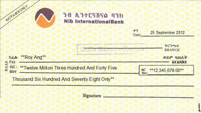 Printed Cheque of Nib International Bank in Ethiopia