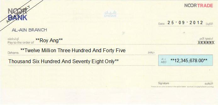 Printed Cheque of Noor Bank in UAE