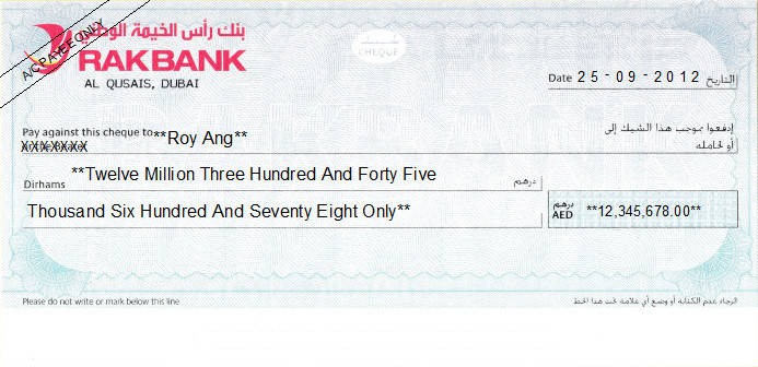 Printed Cheque of RAKBANK (The National Bank of Ras Al-Khaimah) UAE