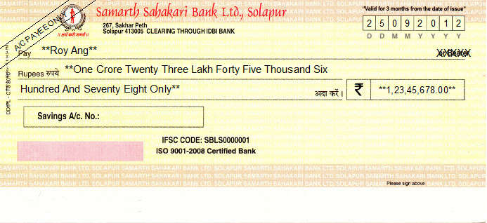 Printed Cheque of Samarth Sahakari Bank in India