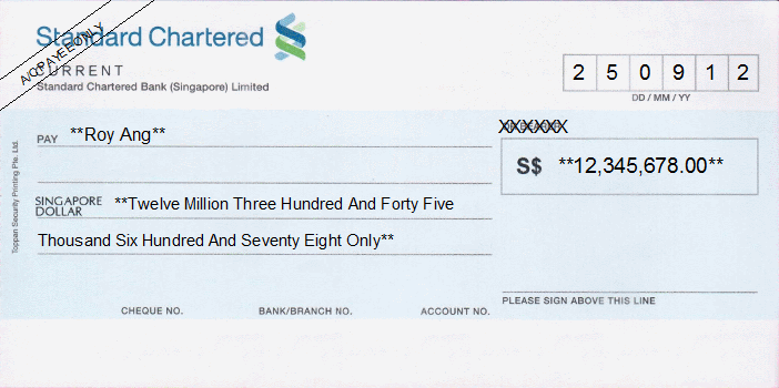 Printed Cheque of Standard Chartered Bank Singapore
