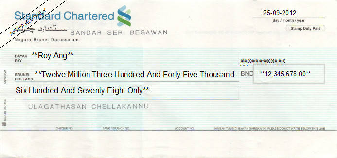 Printed Cheque of Standard Chartered Bank in Brunei