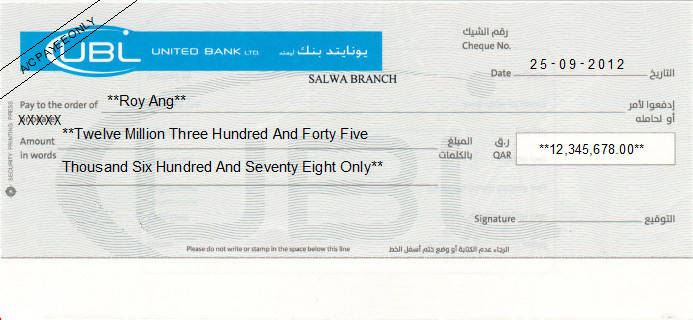 Printed Cheque of United Bank Limited (UBL) in Qatar